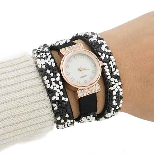 Black and Silver Sequence Wrap Watch