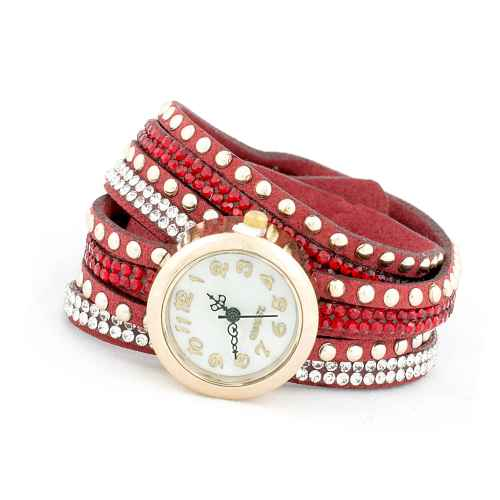 Red Three Strip Wrap Watch