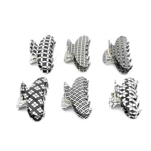 Classic Black and White hair clips (Set of 6)