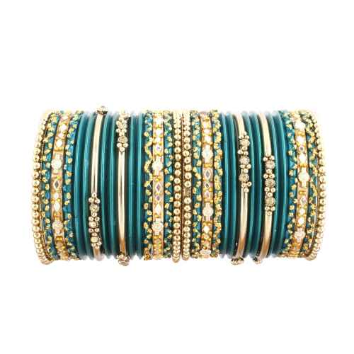 Beautiful Green Glass and Gold Bangles for Kids