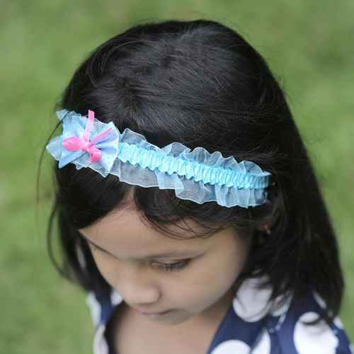 Blue polka dot Bow Hair band
