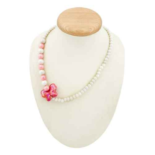 Set- Pink and White Necklace and Bracelet for Kids