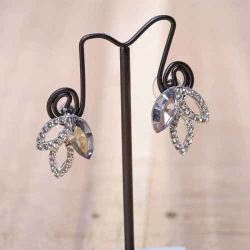 Three Leaf Swarovski Crystal Earrings