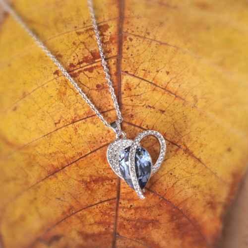 Blue Heart Swarovski Crystal Pendant