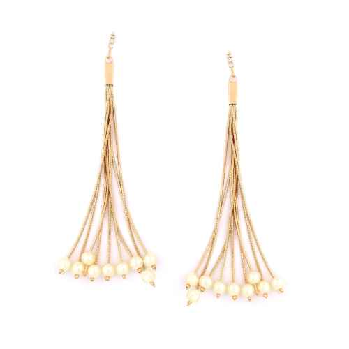 Gold Dangler Earrings with Faux Pearls