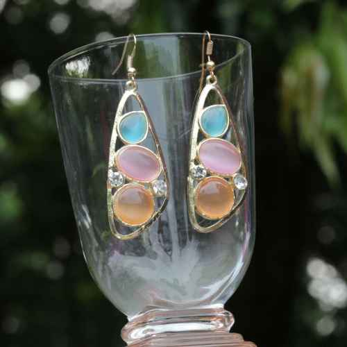 Three Opal Stone Earrings