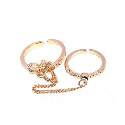 Studded bow two finger ring
