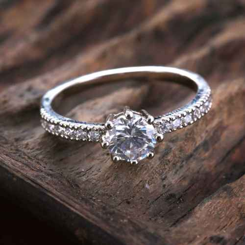 Solitaire Ring Made with Elements from Swarovski.