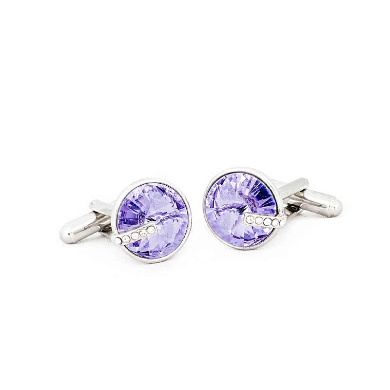 Light Violet Round Crystal Cufflinks made with elements from Swarovski