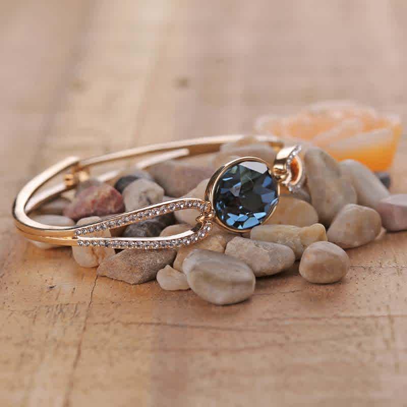 Deep Blue Swarovski Crystal & Gold Bracelet