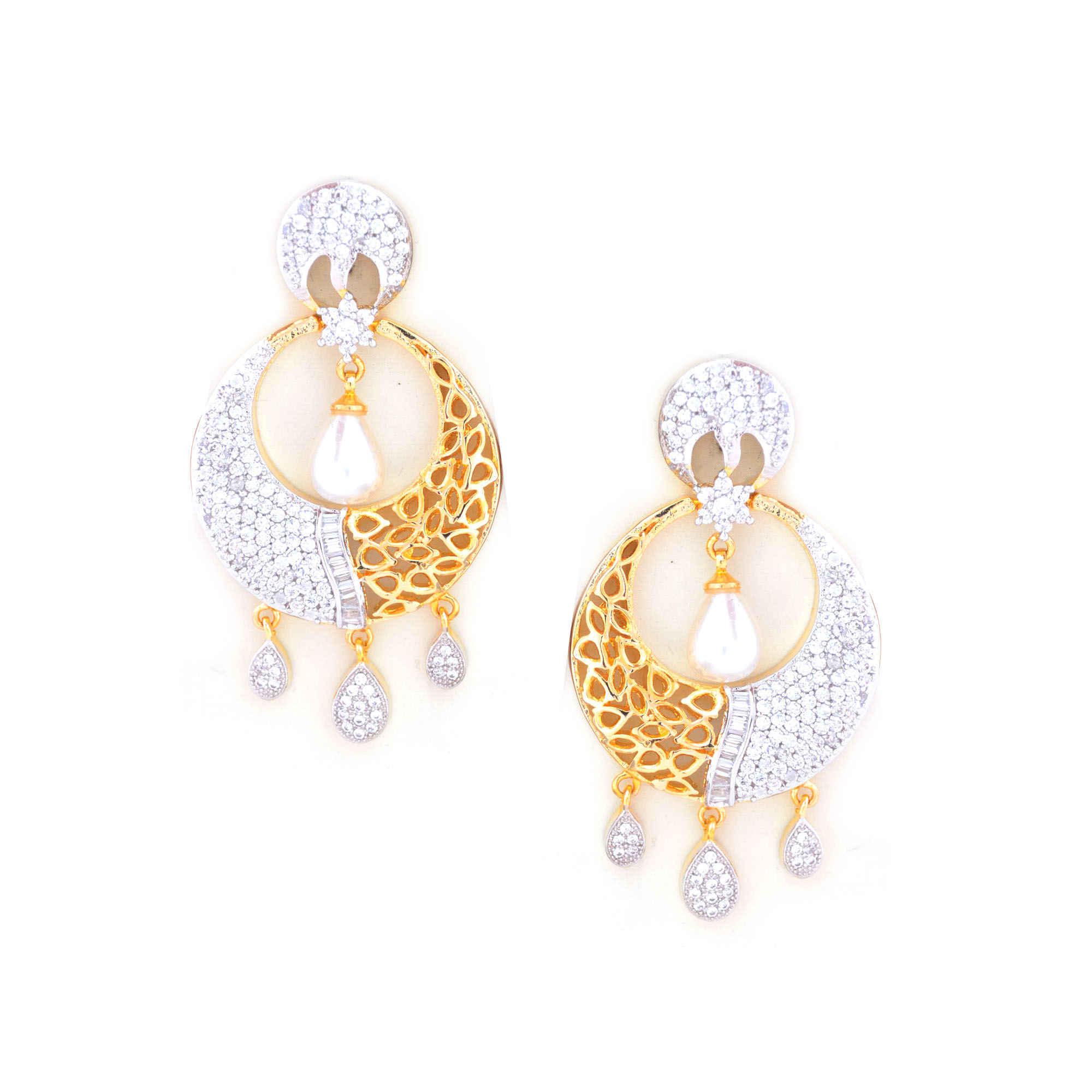 product dwarkesh jewels ade earrings american diamond