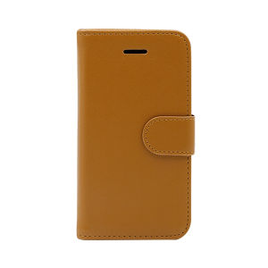 For iPhone 5/5S/SE wallet case real leather case brown