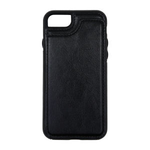 For iPhone 7/8 PU Leather Kickstand Card Pocket Case Black