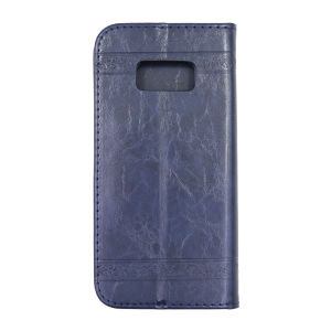 For Samsung S8 SM-G950F Flower Pattern Clamshell Leather Blue With Silicone Inner Shell