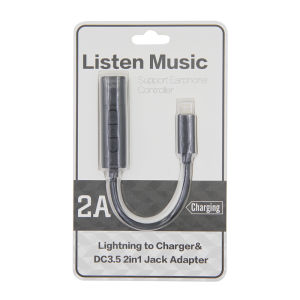 For iPhone 7 Lightning to Charger&DC3.5 2in2 Jack Adapter Black