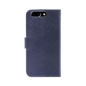 Genuine leather wallet case for iPhone7 Plus blue