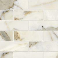 "Classic 2.0 2"" x 6"" Floor and Wall Mosaic in Calacatta Oro"