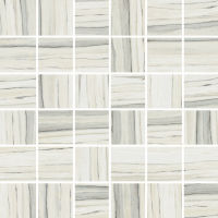 "Zebrino 2"" x 2"" Floor and Wall Mosaic in Calacatta"
