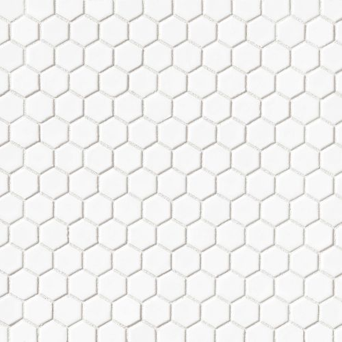 "Le Cafe 1"" x 1"" Floor & Wall Mosaic in White"