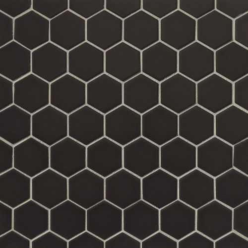 "Le Cafe 2"" x 2"" Floor and Wall Mosaic in Black"