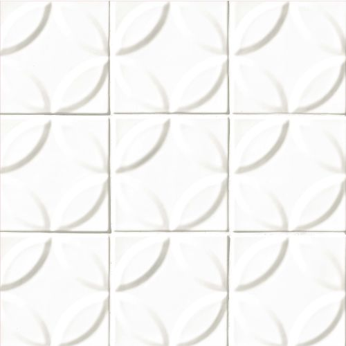 "Provincetown 6"" x 6"" x 7/16"" Decorative Tile in Porch White"