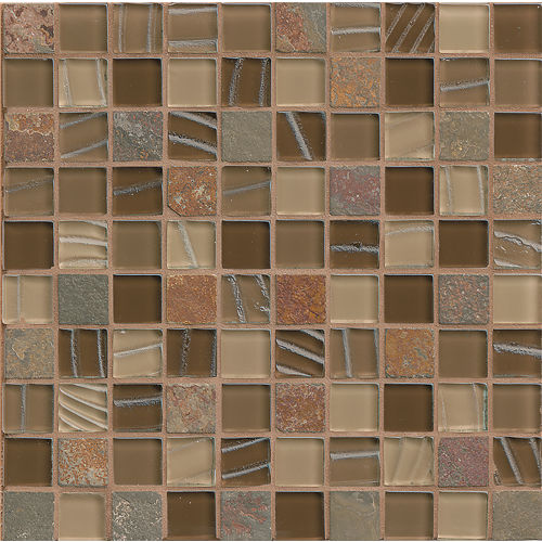 "Elume 1-1/4"" x 1-1/4"" Wall Mosaic in Chestnut"