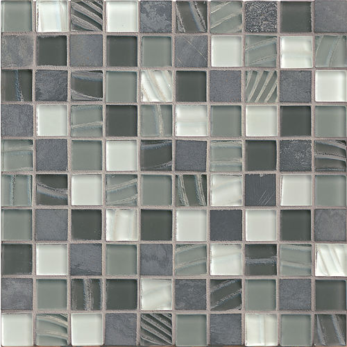 "Elume 1-1/4"" x 1-1/4"" Wall Mosaic in Organic Pewter"