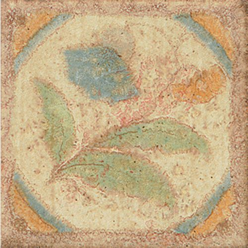 "Cotto Nature 3"" x 3"" Trim in Decos-  Hand  Painted"