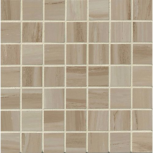 "Rose Wood 1-1/2"" x 1-1/2"" Floor & Wall Mosaic in Beige"
