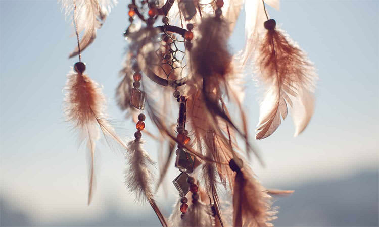 Close Up of the accessories found at the bottom of a dream catcher