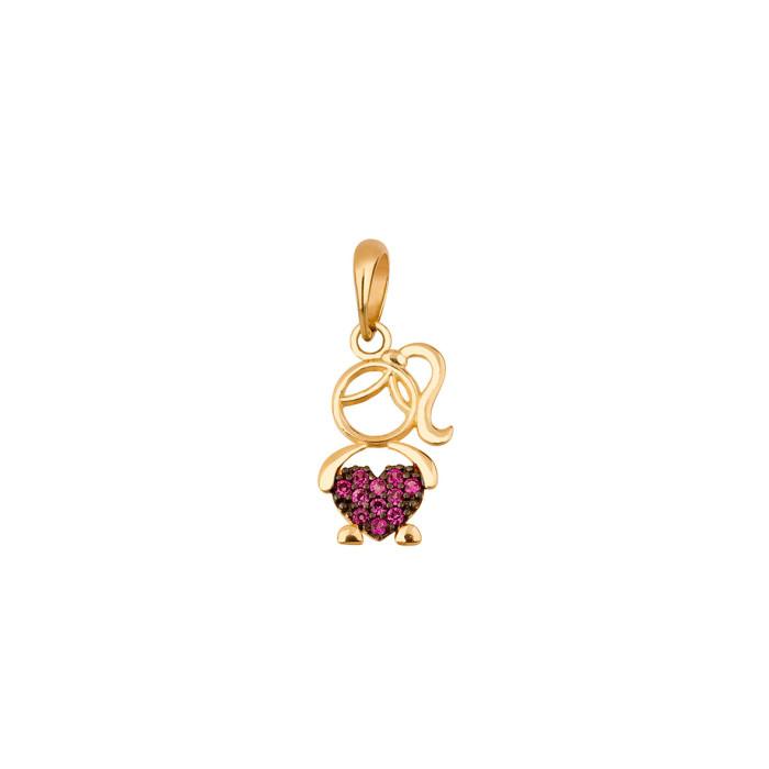 b6d84240290f2 Pingente menina com coração em ouro amarelo 18K- Bela Valentina Joias