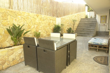 stone patio and table