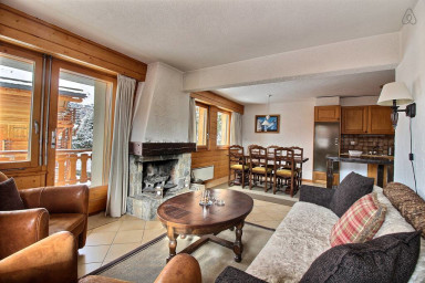 Living room, dining area, kitchen open to the living room, fireplace