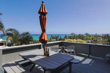 Lanikai Hillside Garden Lanai Studio with Spectacular Ocean View of Mokulua
