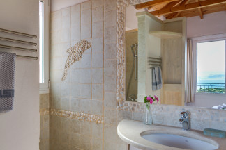 Lovely designed bathroom 1 with sea view