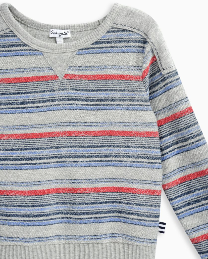 Little Boy Reverse Print Brushed French Terry Top