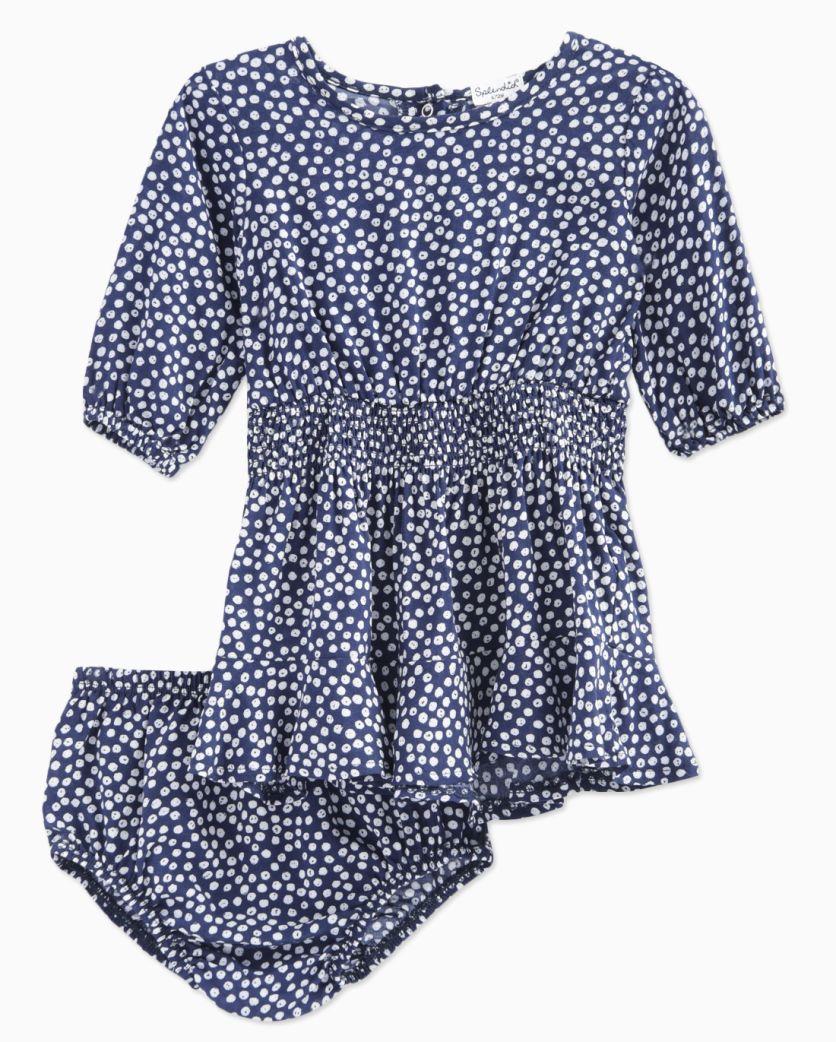 Baby Girl Ditsy Dot 3/4 Sleeve Dress