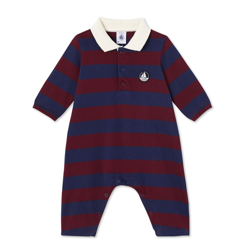 Baby boy's striped all-in-one
