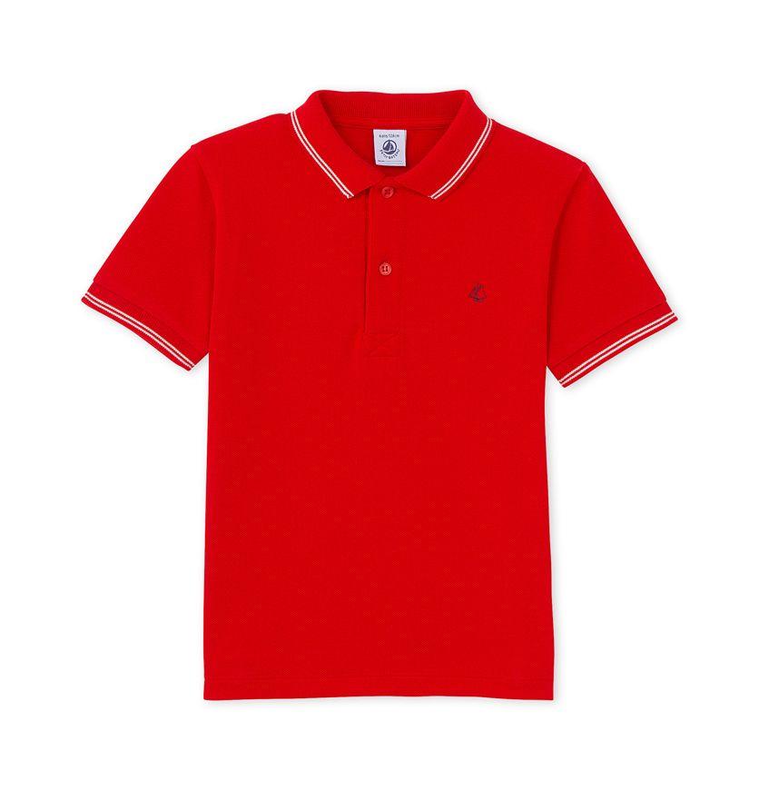 Boys' polo shirt in piqué jersey