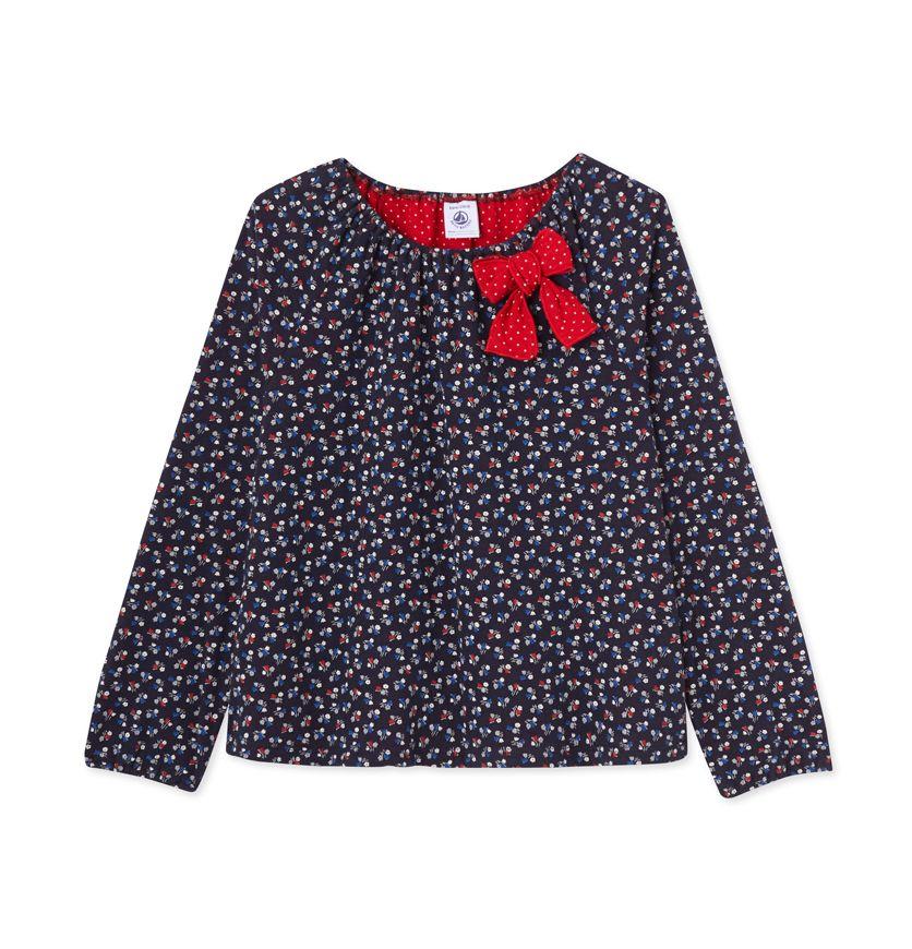 Girls' flower print tube knit blouse