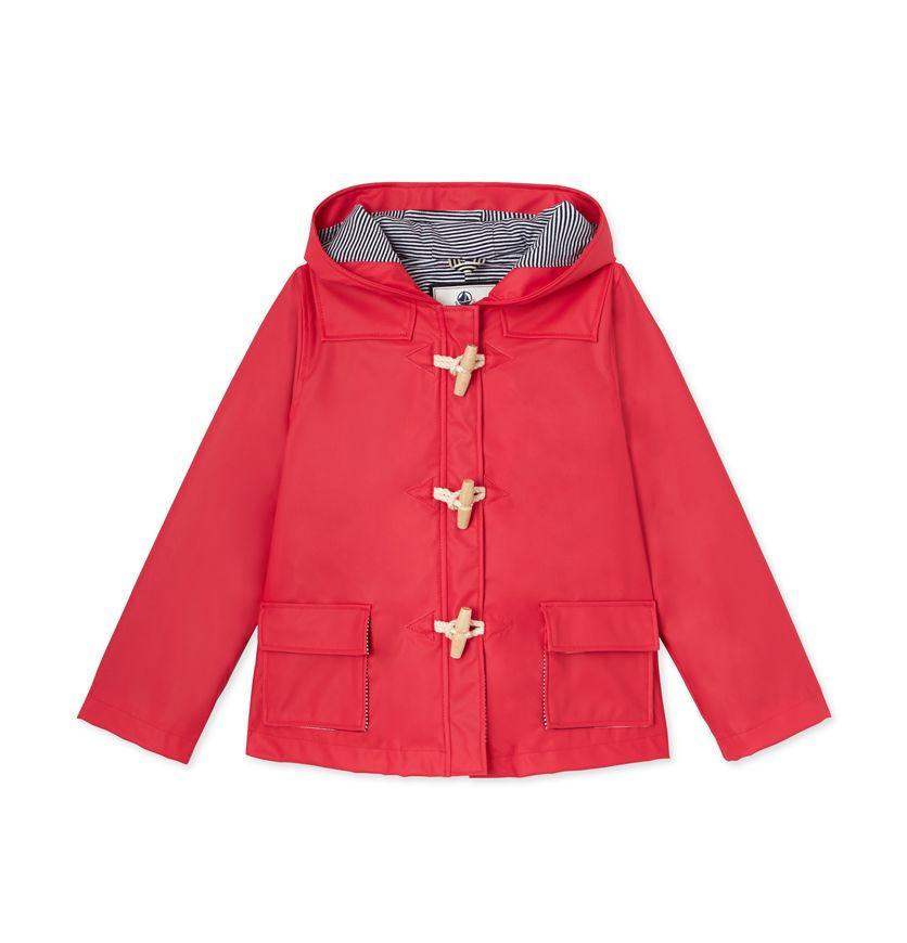 Girl's duffle-coat style hooded rain jacket