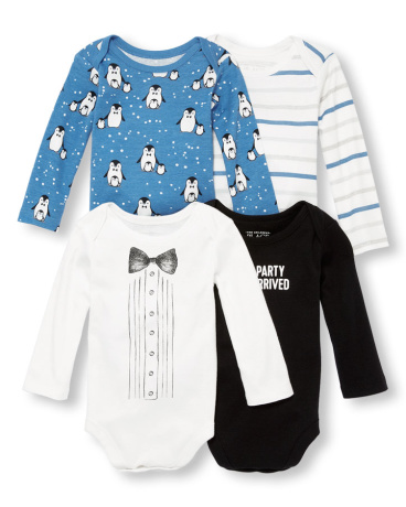 Baby Boys Long Sleeve 'The Party Has Arrived' Penguin Graphic Bodysuit 4-Pack