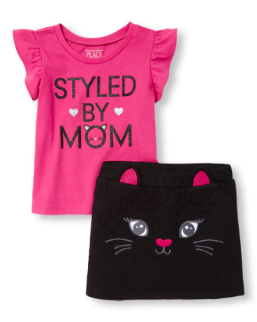 Toddler Girls Short Sleeve Glitter 'Styled My Mom' Top And Quilted Cat Skirt Set