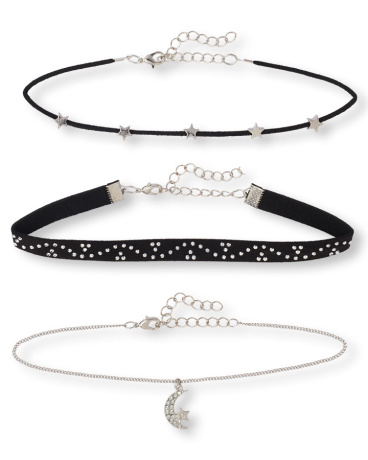 Girls Star Studded Choker Necklace 3-Pack