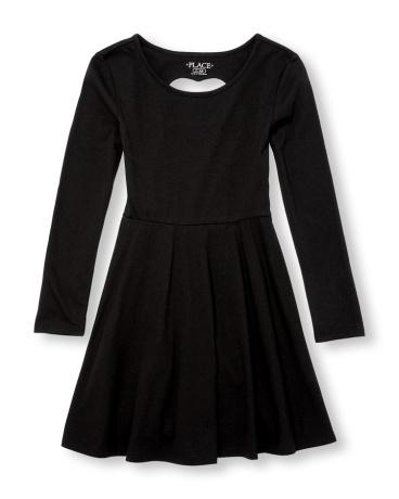 Girls Long Sleeve Cutout Heart Knit Dress