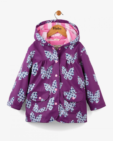 Butterflies & Buds Girls Raincoat