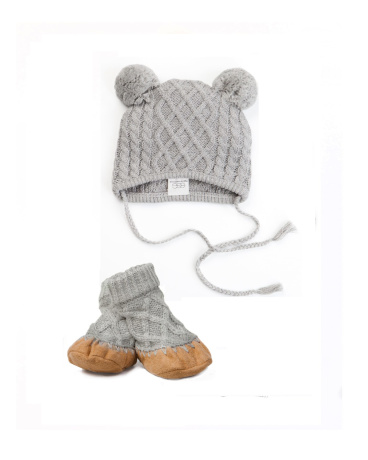 Classic Grey Cable Knit Hat & Bootie Set