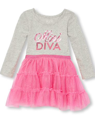 Toddler Girls Long Sleeve Sequin 'Mini Diva' Knit-To-Woven Tutu Dress