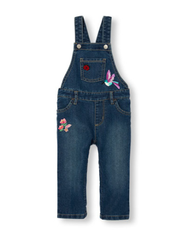 Toddler Girls Embroidered Denim Overalls