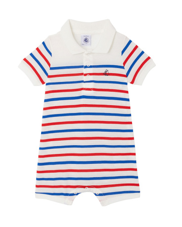 Baby boys' striped short dungaree